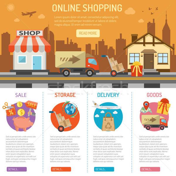 Internetes vásárlás online ikon szett ekereskedelem marketing hirdetés Stock fotó © -TAlex-