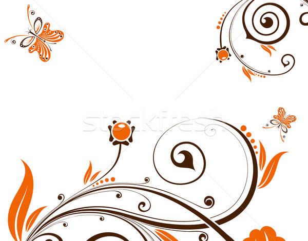 Virágmintás virág pillangó alkotóelem terv absztrakt Stock fotó © -TAlex-