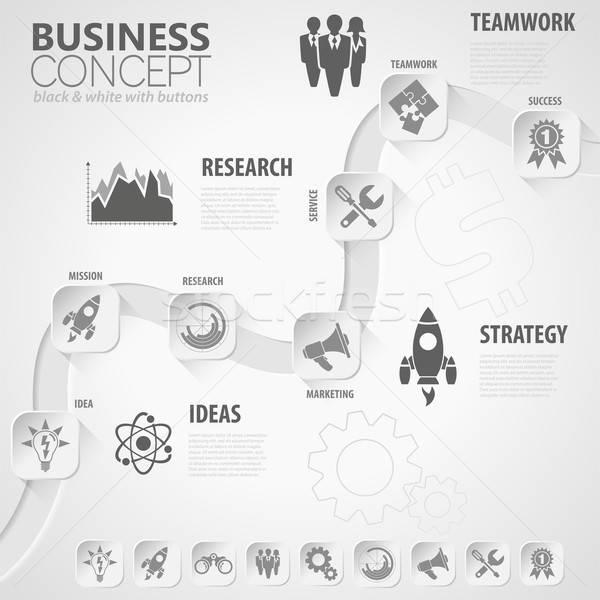 Idővonal infografika üzlet papír gombok ikonok Stock fotó © -TAlex-
