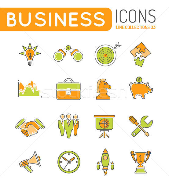 ストックフォト: ビジネス戦略 · 薄い · 行 · 色 · ウェブのアイコン · セット