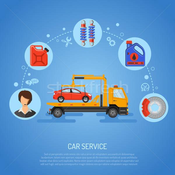 Autó szolgáltatás poszter weboldal hirdetés ikonok Stock fotó © -TAlex-