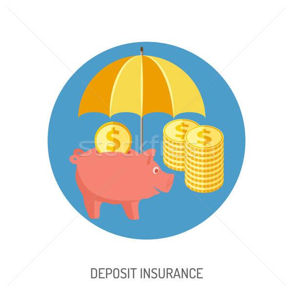 Dépôt assurance icône site web publicité tirelire Photo stock © -TAlex-
