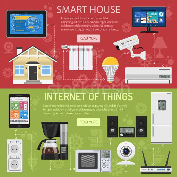 Puce maison internet choses horizontal bannières Photo stock © -TAlex-
