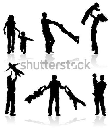 Foto stock: Silhueta · família · feliz · grande · vetor · criança · andar