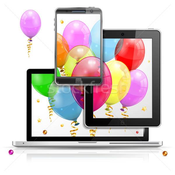 ünnep ötlet születésnap léggömbök laptop képernyő Stock fotó © -TAlex-