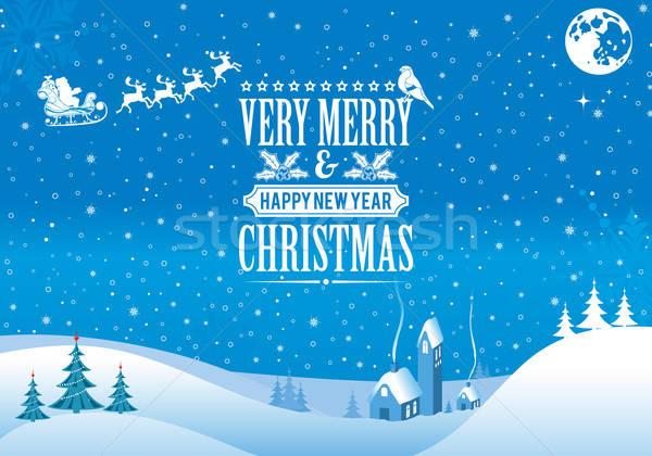 Karácsony retro címke fa mikulás ház Stock fotó © -TAlex-