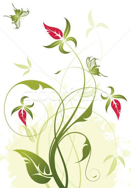 Virágmintás grunge pillangó alkotóelem terv fa Stock fotó © -TAlex-