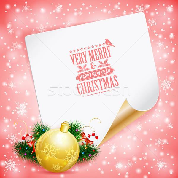 Karácsony üdvözlőlap cukorka fenyő ágak csecsebecse Stock fotó © -TAlex-