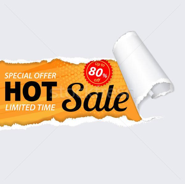 продажи баннер Torn дыра бумаги реалистичный Сток-фото © -TAlex-