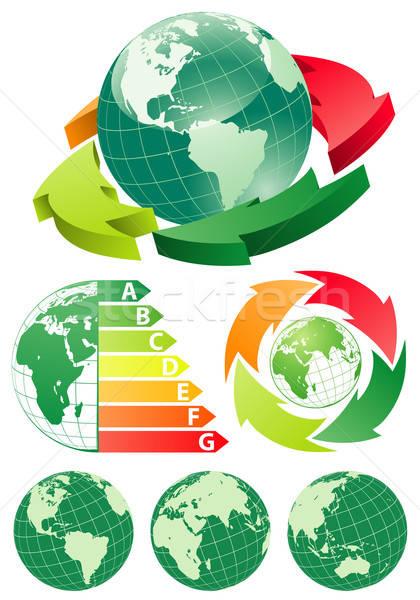 Earth with energy efficiency arrow Stock photo © -TAlex-