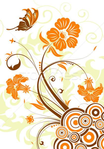 Virágmintás kör alkotóelem terv fa pillangó Stock fotó © -TAlex-