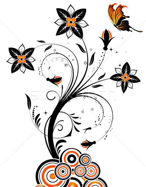 Virág pillangó kör alkotóelem terv absztrakt Stock fotó © -TAlex-