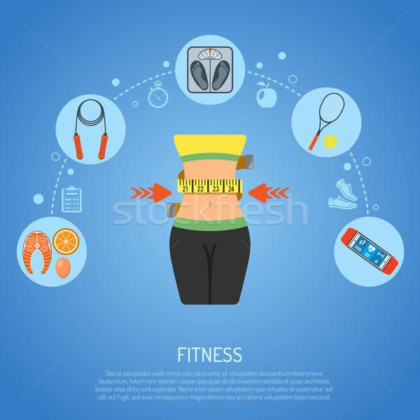 Egészséges életmód fitnessz ikonok csípővonal mérleg kütyük Stock fotó © -TAlex-