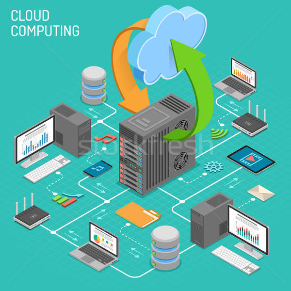 Data Network Cloud Computing Technology Isometric Stock photo © -TAlex-