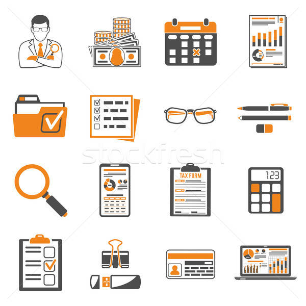 Auditing, Tax, Accounting two color icons set Stock photo © -TAlex-