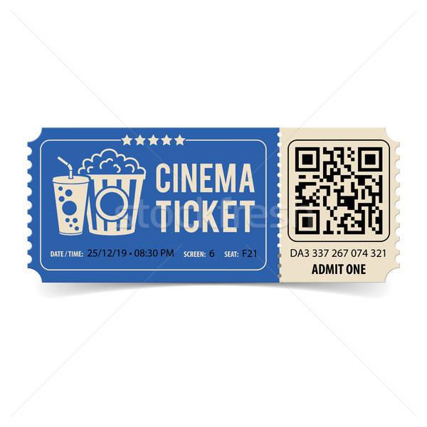 Kina bilet qr code popcorn sody stylu Zdjęcia stock © -TAlex-