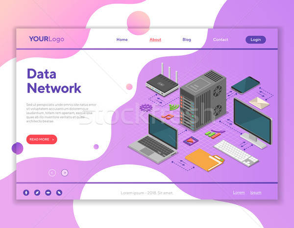 Data Network Isometric Concept Stock photo © -TAlex-