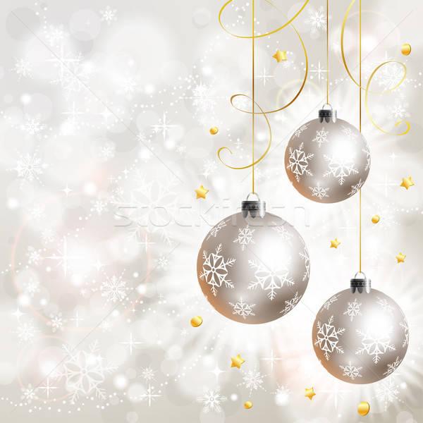 Photo stock: Noël · flocons · de · neige · babiole · élément · design · fond