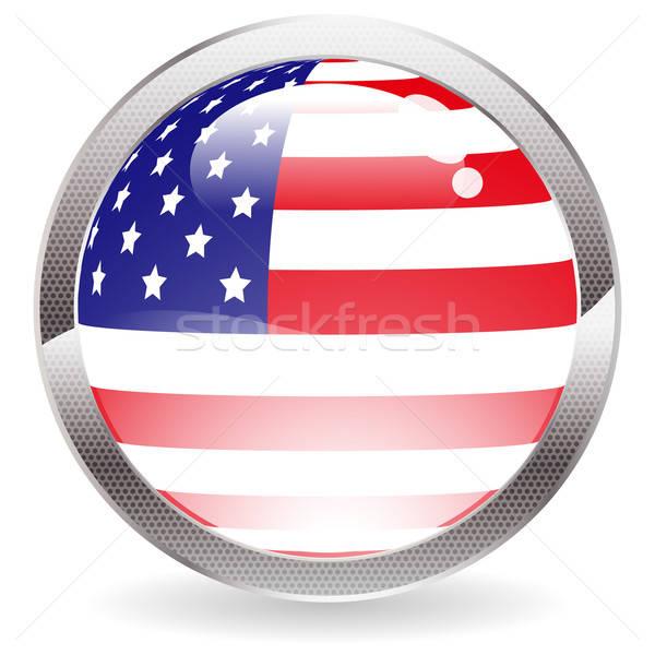 Glans knop Amerikaanse vlag cirkel web Stockfoto © -TAlex-
