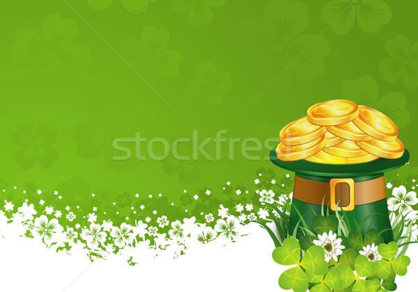 Giorno frame Hat monete d'oro trifoglio foglia Foto d'archivio © -TAlex-