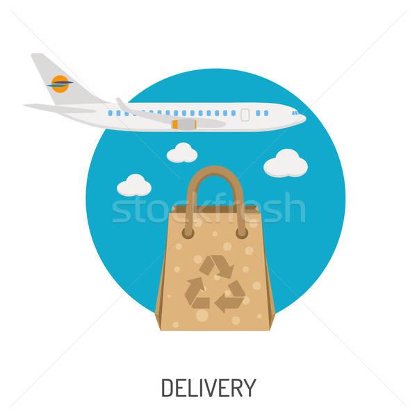 Lieferung Waren Symbole Flugzeug Tasche Stock foto © -TAlex-
