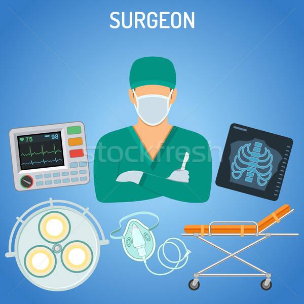Orvos sebész orvosi szike röntgen ikonok Stock fotó © -TAlex-