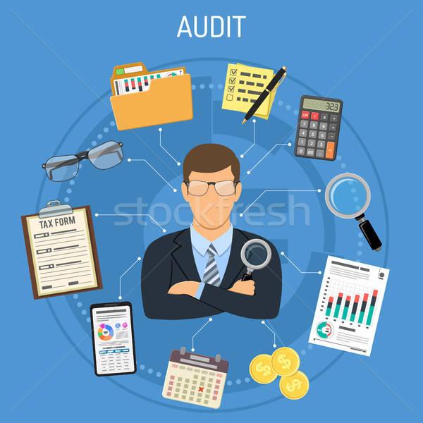 Belasting procede boekhouding revisor vergrootglas hand Stockfoto © -TAlex-