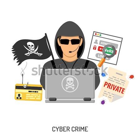 Hacker działalność przestępczości stylu ikona jak Zdjęcia stock © -TAlex-