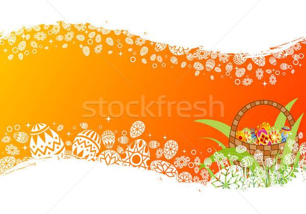 Foto stock: Pascua · marco · huevos · elemento · diseno