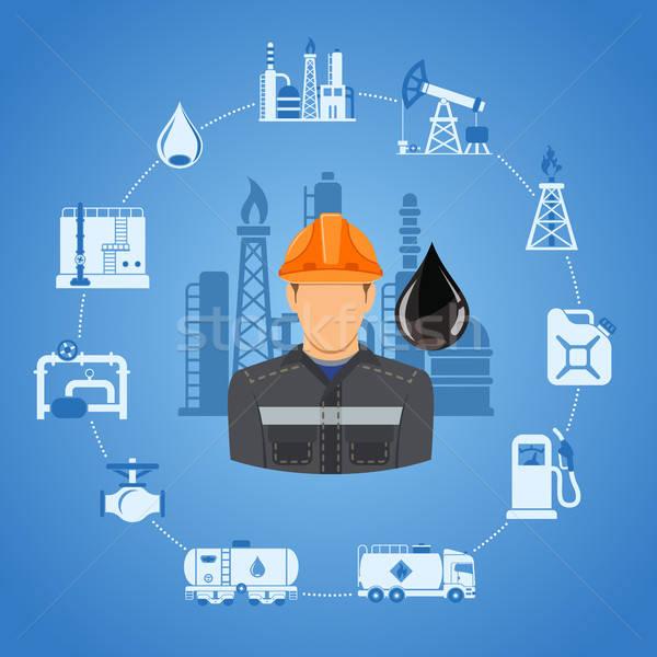 Przemysł naftowy dwa kolor ikona produkcji transport Zdjęcia stock © -TAlex-