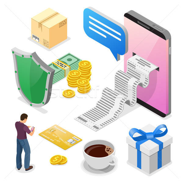 Online smartphone ontvangst geld gebruiker Stockfoto © -TAlex-