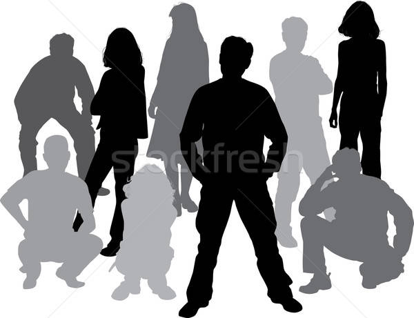 Vector silhouettes friends (man and women) Stock photo © -TAlex-