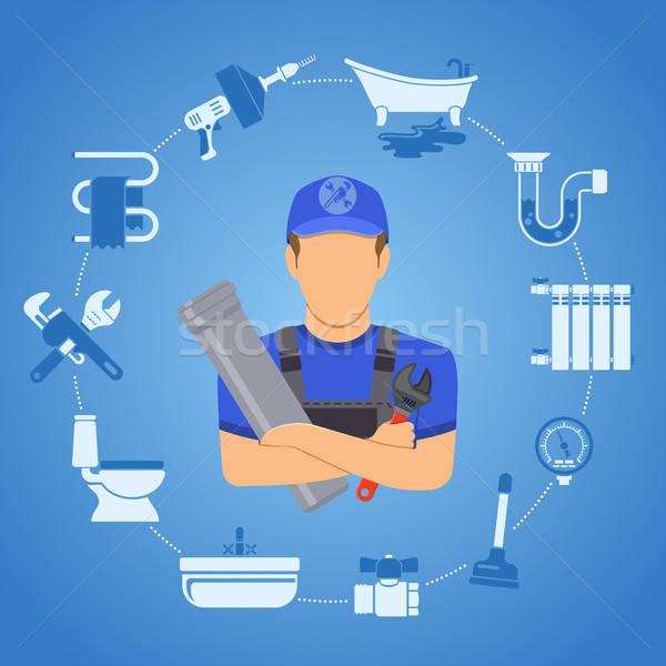 Sanitair dienst infographics reparatie schoonmaken loodgieter Stockfoto © -TAlex-
