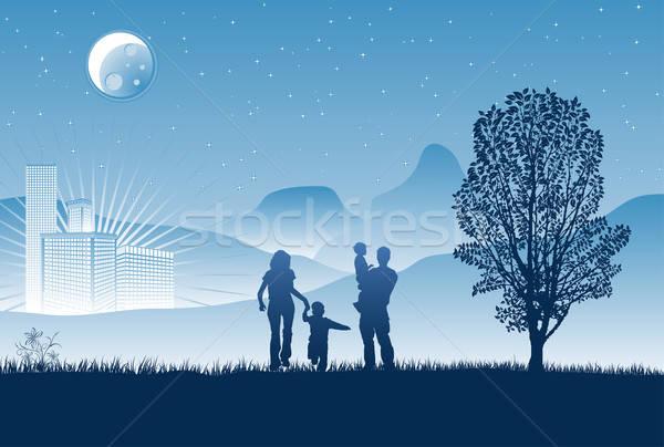 Noc urban scene sylwetki rodziny wieżowce drzewo Zdjęcia stock © -TAlex-
