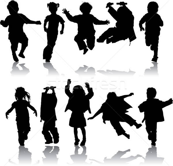 Vector silhouette girls and boys Stock photo © -TAlex-