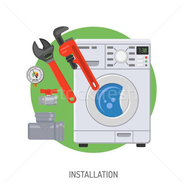 Csövek szolgáltatás installáció mosógép vízvezetékszerelő szerszámok Stock fotó © -TAlex-