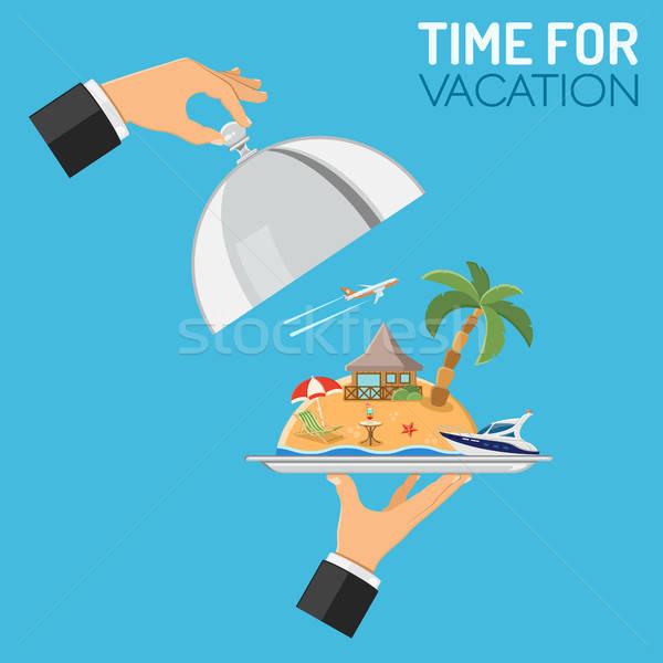 Vakáció utazás kéz tart tálca sziget Stock fotó © -TAlex-