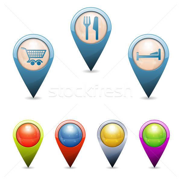 3D набор карта повседневный жизни иконки Сток-фото © -TAlex-