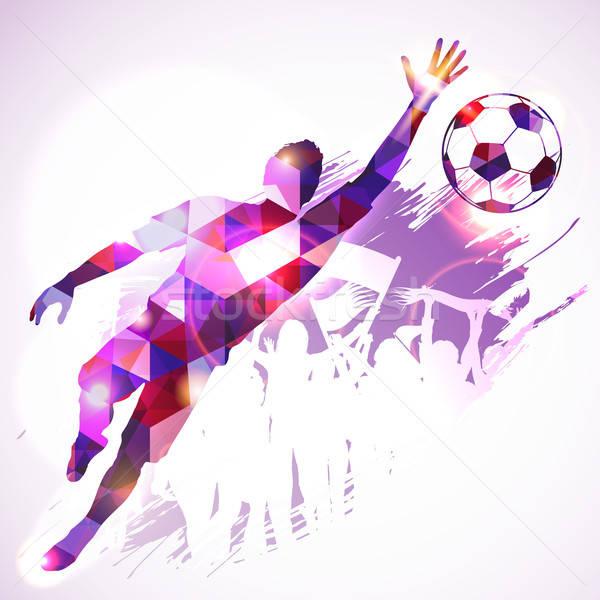 Fútbol portero silueta futbolista aficionados mosaico Foto stock © -TAlex-
