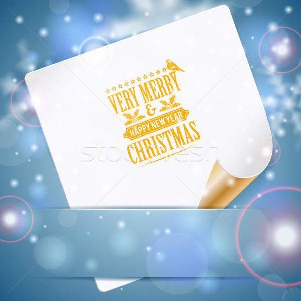 Karácsony üdvözlőlap lap papír retro címke Stock fotó © -TAlex-