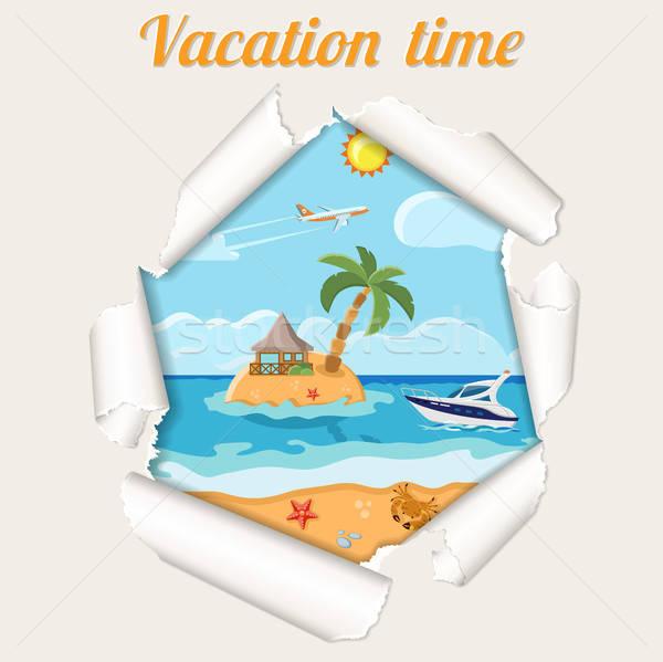 Vacanze isola strappato buco carta Foto d'archivio © -TAlex-