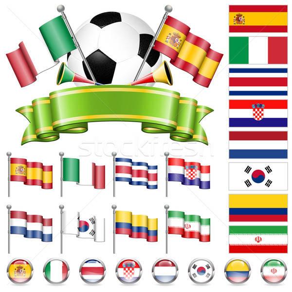 Stockfoto: Voetbal · kampioenschap · wereld · 2014 · Brazilië · vlaggen