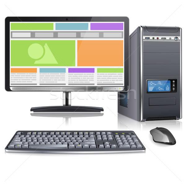 Computer geval monitor toetsenbord muis sympathiek Stockfoto © -TAlex-