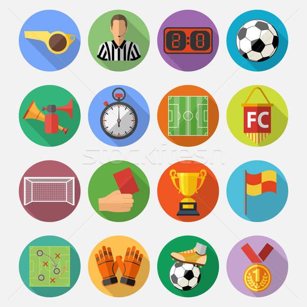 Foto stock: Futebol · futebol · aviador · cartaz