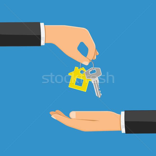 Kaufen Mietbetrag Immobilien Hand home Schlüssel Stock foto © -TAlex-