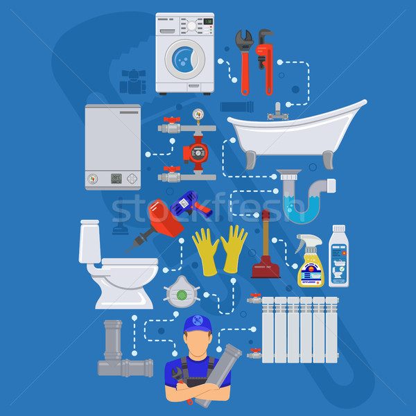 Plomberie Ouvrir la infographie installation nettoyage réparation Photo stock © -TAlex-