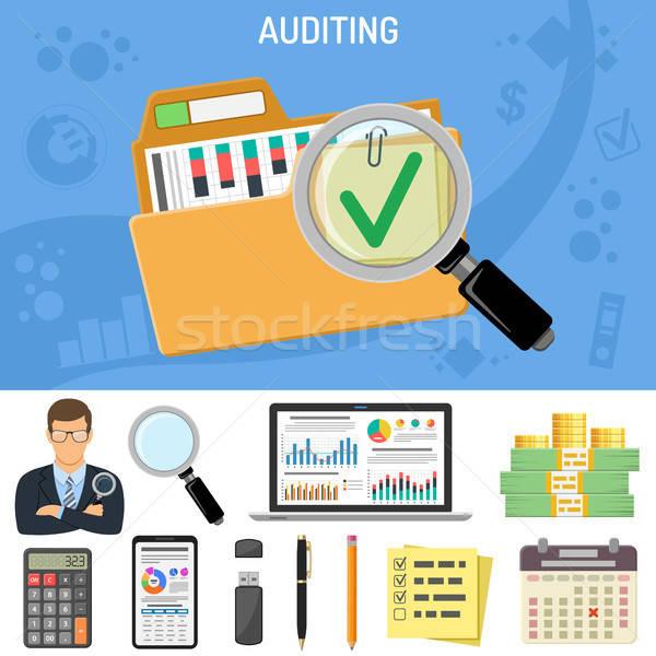 Business boekhouding revisor vergrootglas hand stijl Stockfoto © -TAlex-