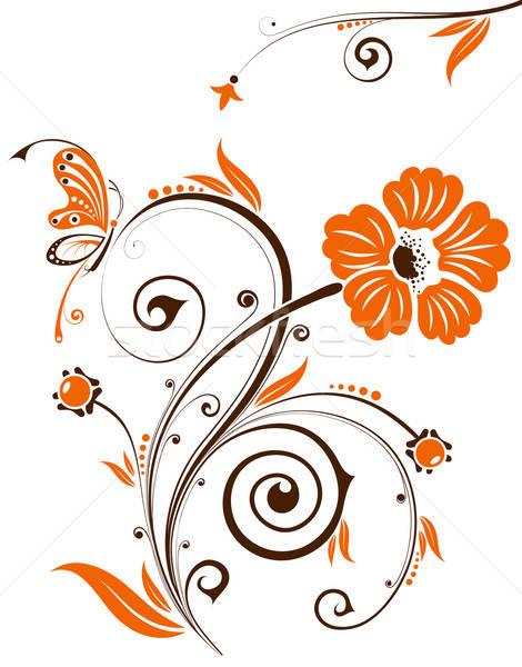 Foto d'archivio: Floreale · fiore · farfalla · elemento · design · abstract
