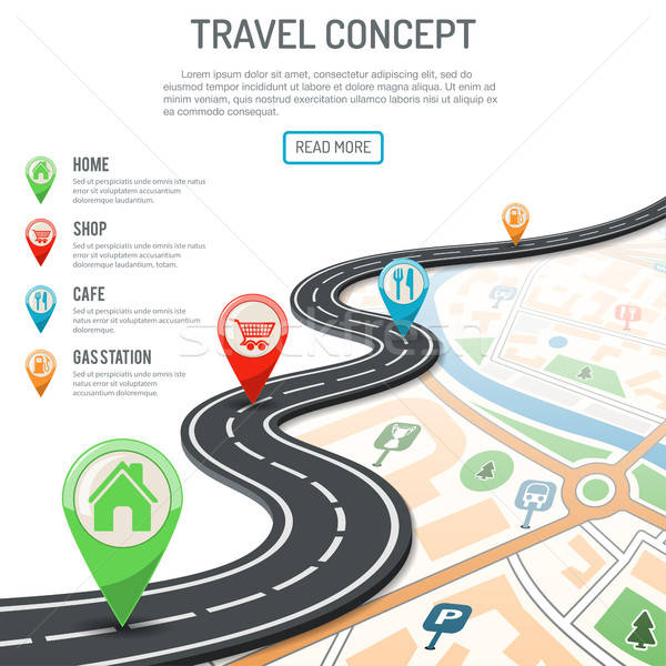 Viaje navegación iconos carretera negocios mapa Foto stock © -TAlex-