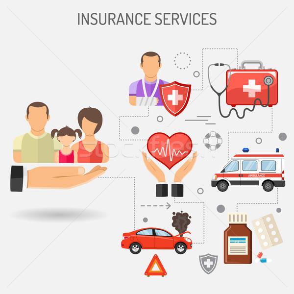 Stock fotó: Biztosítás · szolgáltatások · szalag · bannerek · poszter · weboldal